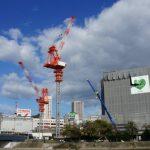 広島駅南口Bブロック再開発工事 2014.10(Vol.22) タワークレーン2基に