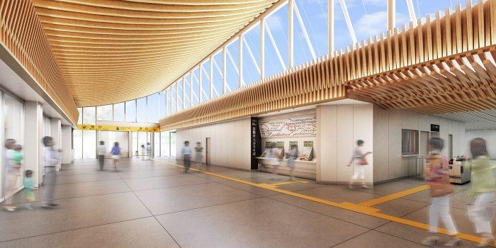 西広島駅自由通路 全面的に木材を使った美しい空間に | AND BUILD ...